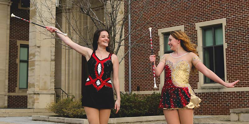 Majorette captains competing in global twirling championship